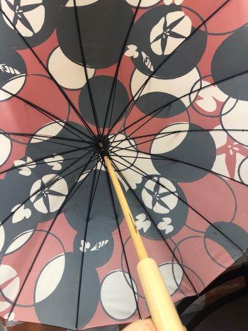 和柄の傘の裏側