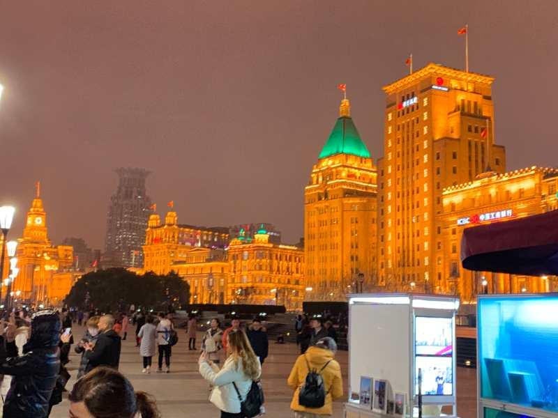 上海銀行の夜景
