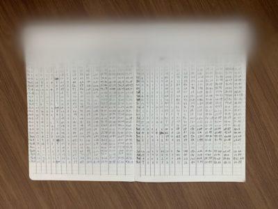 データを記録したノート