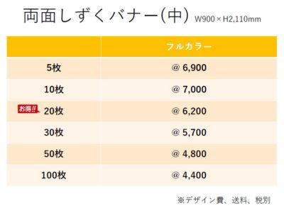 しずくバナー価格表