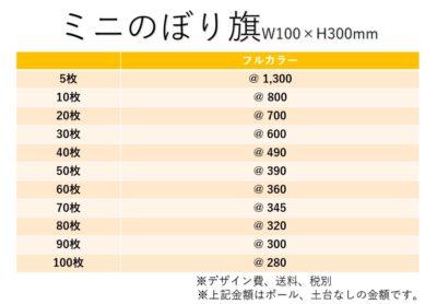ミニのぼり価格表