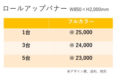ロールアップバナー価格表